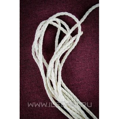 Кожаный белый плетеный шнур 3 мм