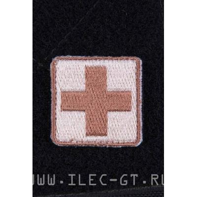 Нашивка медика, крест в коричневых тонах