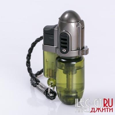 Турбо зажигалка зеленого цвета