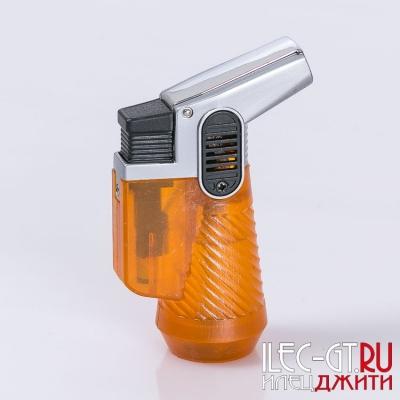 Оранжевая газовая зажигалка с двойным турбо пламенем