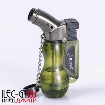 Газовая зажигалка горелка зеленого цвета