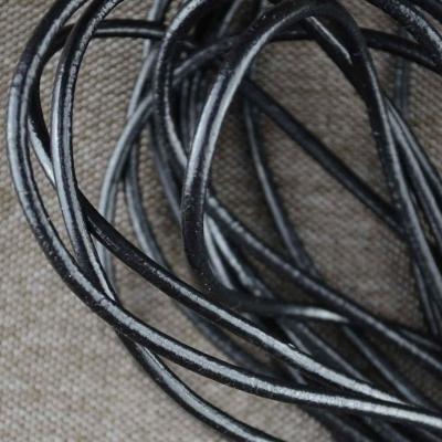 Черный декоративный шнур 1,5 мм из кожи