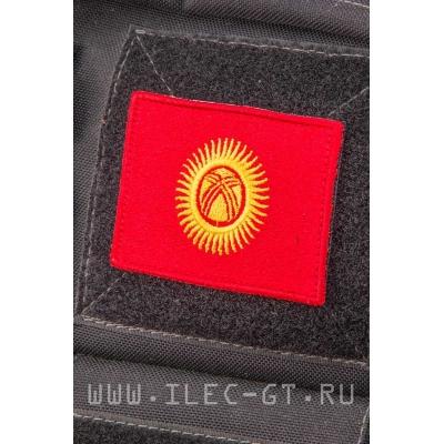 Нашивка на липучке, флаг Киргизии 5,4х7,2 см.