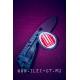 Серо-красная круглая нашивка STRIDER KNIVES 5 см